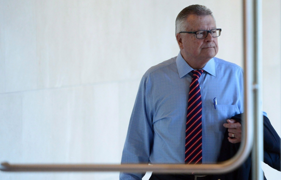 Public Safety Minister Ralph Goodale arrives to appear at commons committee a briefing on the issue of asylum seekers irregularly entering Canada from the United States in Ottawa on Thursday, Oct. 5, 2017. (THE CANADIAN PRESS/Sean Kilpatrick)