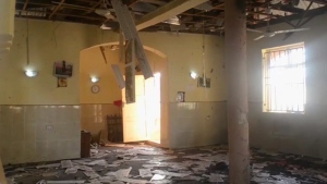 This image taken from TV, shows the interior of a mosque after a deadly attack by a suicide bomber, in Mubi, Adamawa State, Nigeria, Tuesday Nov. 21, 2017. (AP Photo)