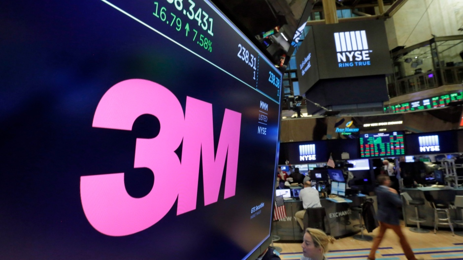 The logo for 3M appears on a screen above the trading floor of the New York Stock Exchange, Tuesday, Oct. 24, 2017. (AP Photo/Richard Drew)