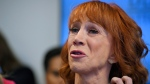 In this June 2, 2017 file photo comedian Kathy Griffin speaks during a news conference in Los Angeles, to discuss the backlash since Griffin released a photo and video of her displaying a likeness of U.S. President Donald Trump's severed head. (AP / Mark J. Terrill, File)