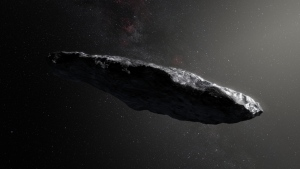 The asteroid, named Oumuamua by its discoverers, is (400 meters long and highly elongated --perhaps 10 times as long as it is wide. (ESO/ M. Kornmesser)