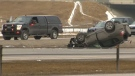 Police are investigating the cause of a crash in the southbound lanes of Deerfoot Trail on Tuesday morning.