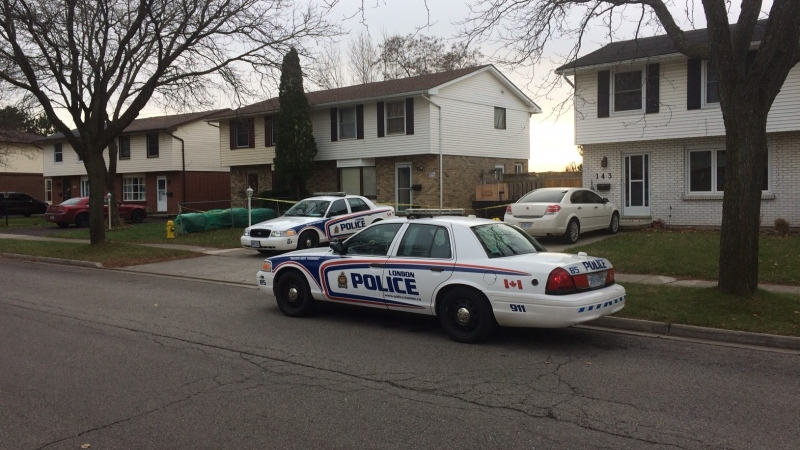 London police investigate after a woman was injured on Banbury Road in London Ont. on Nov. 21, 2017 (Brent Lale/CTV)