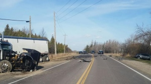 One person was killed in a head-on crash on Wellington Road 124 on Tuesday, Nov. 21, 2017. (Wellington County OPP)