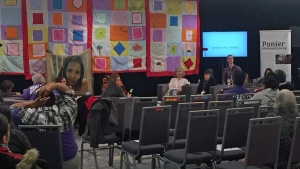 Delores Stevenson testifies about the death of her niece, Nadine Machiskinic, at the national inquiry into murdered and missing Indigenous women in Saskatoon. (Angelina Irinici/CTV Saskatoon)