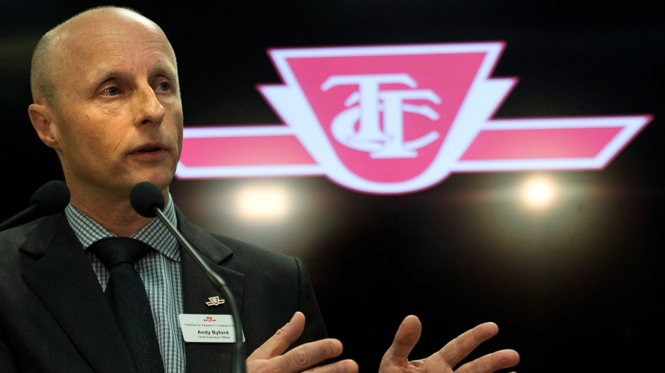 TTC CEO Andy Byford speaks to the media regarding the release of a video involving TTC enforcement officers on Wednesday, April 1, 2015. THE CANADIAN PRESS/Nathan Denette