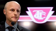 TTC chief executive officer Andy Byford speaks at a news conference in Toronto on Wednesday, April 1, 2015. Byford is leaving his post to take a job as president and CEO of New York City. THE CANADIAN PRESS/Nathan Denette