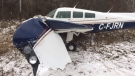 This single engine plane was forced to make an emergency landing on Rifle Road near Carling just after 2 p.m. on Tuesday, Nov. 21, 2017. The pilot was the only person on board and suffered no injuries. (Ottawa Fire Services/Twitter)