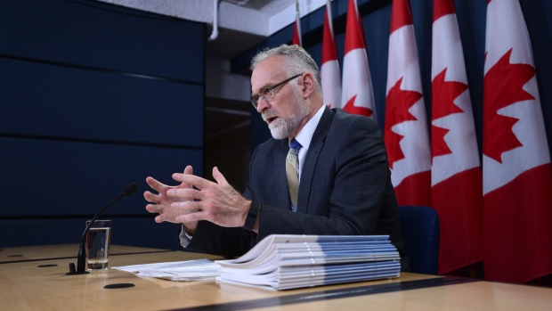 Auditor General Michael Ferguson holds a press conference at the National Press Theatre in Ottawa on Tuesday, Nov. 21, 2017, regarding his 2017 Fall Report. (THE CANADIAN PRESS / Sean Kilpatrick)