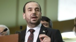 Nasr al-Hariri, the leader of Syria's main opposition group, the High Negotiations Committee, gives a press conference after a round of negotiation with UN Special Envoy of the Secretary-General for Syria Staffan de Mistura, at the European headquarters of the United Nations in Geneva, Switzerland on March 3, 2017. (Salvatore Di Nolfi / Keystone)
