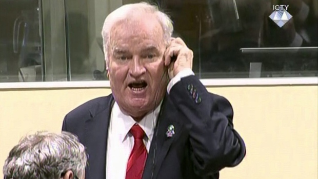 Bosnian Serb military chief Ratko Mladic during an angry outburst in the Yugoslav War Crimes Tribunal in The Hague, Netherlands, on Nov. 22, 2017. (ICTY via AP)