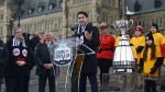 Prime Minister Justin Trudeau speaks during a ceremony as the Grey Cup arrives on Parliament Hill in Ottawa on Tuesday, Nov.21, 2017.