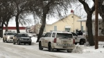 Police presence on Agricultural Avenue in Yorkton. (COLTON WIENS/CTV YORKTON)