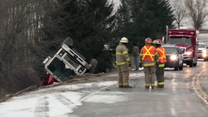 Police responded to three separate collisions on an icy stretch of Arthur Street near Elmira on the morning of Wednesday, Nov. 22, 2017.
