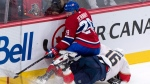 Montreal Canadiens defenceman Jakub Jerabek (28) falls on Florida Panthers centre Aleksander Barkov (16) during second period NHL pre-season hockey action Friday, September 29, 2017 in Montreal. THE CANADIAN PRESS/Paul Chiasson