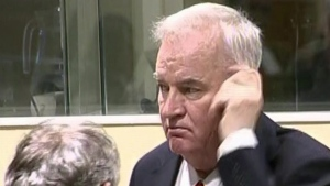 Bosnian Serb military chief Ratko Mladic after an angry outburst in the Yugoslav War Crimes Tribunal in The Hague, Netherlands, on Nov. 22, 2017. (ICTY via AP)