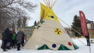 Students in the Grade 7 and 8 class at École Victoria School raised a hand-painted teepee at the school Wednesday, Nov. 22, 2017. (Cory Coleman/CTV Saskatoon)