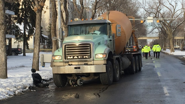 A concrete mixing truck and a scooter could be seen after a serious collision, in the area of 97 St. and 114 Ave. on Wednesday, November 22, 2017.
