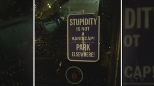Nasty note left in accessible parking space
