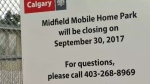 Midfield Mobile Home Park - closing sign
