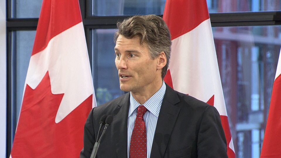Vancouver Mayor Gregor Robertson speaks at the announcement of Canada's national housing strategy.