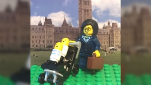 NDP MP Niki Ashton's Lego likeness is seen in this Aug. 23, 2017 tweet from @PoliLego. (PoliLego/Twitter)
