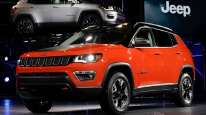 The 2017 Jeep Compass is displayed at the Los Angeles Auto Show in Los Angeles, Thursday, Nov. 17, 2016. (Chris Carlson/AP Photo)