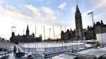 Construction continues on the skating rink on Parliament Hill in Ottawa on Monday, Nov. 20, 2017. (Justin Tang/The Canadian Press)