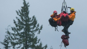 Search and rescue members on a long line steady Annette Poitras while being lowered to the ground by a helicopter after rescuing her from Eagle Mountain in Coquitlam, B.C., on Wednesday November 22, 2017. A Vancouver-area woman missing since Monday has been found alive after she disappeared while out walking three dogs. THE CANADIAN PRESS/Darryl Dyck