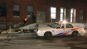 Police are searching for a suspect after three fires were set in the area of Queen and Sherbourne streets overnight. (Mike Nguyen/ CP24)