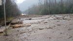 A photo posted to Twitter by Emil Anderson Maintenance (@EAMOperations) shows a mudslide in the Bridal Falls area.