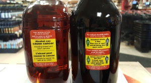 The new alcohol warning labels are shown in this handout photo (Kate Vallance/ handout)