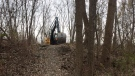 Bulldozers tore up the homemade bike park in east Windsor on Thursday, Nov. 23, 2017. (Michelle Maluske / CTV Windsor)