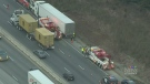 Tow truck driver hurt on Highway 401