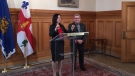 Valerie Plante and Regis Labeaume, the mayors of Montreal and Quebec City, met for the first time since Plante's election on Thursday. (Photo: Caroline Van Vlaardingen/CTV Montreal)