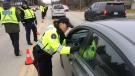 Guelph Police officers conduct RIDE spot checks on Wednesday, Nov. 15, 2017. (Dan Lauckner / CTV Kitchener)