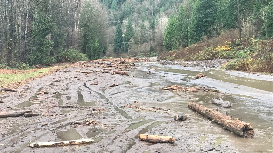 A mudslide is seen in the Bridal Falls area on Thursday, Nov. 23, 2017.