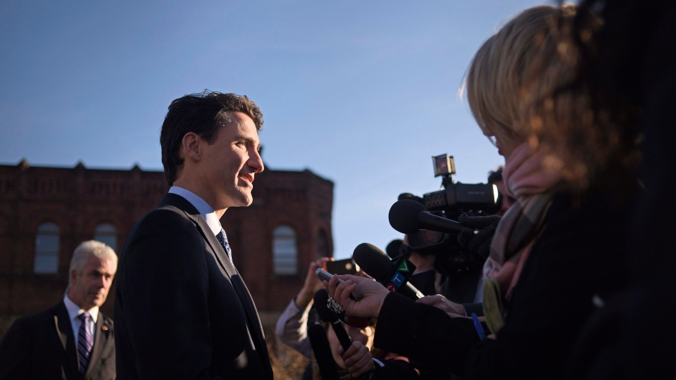Prime Minister Justin Trudeau takes questions from the media outside the Confederation Centre of the Arts in Charlottetown, P.E.I., on Thursday, Nov 23, 2017. THE CANADIAN PRESS/Nathan Rochford