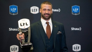 Edmonton Eskimos quarterback Mike Reilly, recipient of the Most Outstanding Player award, poses backstage at the CFL awards in Ottawa on Thursday, Nov. 23, 2017. (Nathan Denette/THE CANADIAN PRESS)