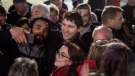 Prime Minister Justin Trudeau poses for photos with a crowd of supporters in Clarenville, N.L. on Thursday, November 23, 2017. THE CANADIAN PRESS/Darren Calabrese