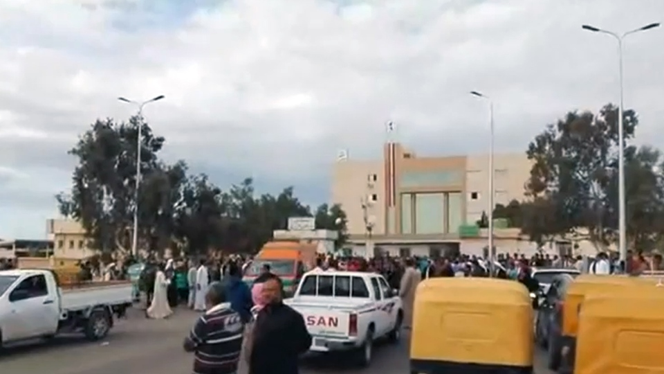 Ambulances rush to hospital following an attack at a mosque in Egypt, Friday, Nov. 24, 2017. (Credit: Bir al-Abed News via Storyful)