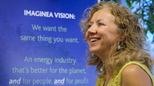 Suzanne West, CEO of Imaginea Energy, at the company's head office in Calgary, Alta., on Sept. 1, 2015. (Jeff McIntosh / THE CANADIAN PRESS)