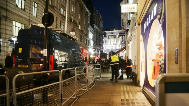 The scene outside the London Palladium in the west end of London after Oxford Circus station was evacuated Friday, Nov. 24, 2017. (Yui Mok/PA)