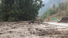 Thick mud and debris are seen on Highway 1 near Bridal Falls on Friday, Nov. 24, 2017. (Sheila Scott / CTV Vancouver)