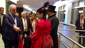 Premier Philippe Couillard greets a couple dressed up as Henri-Gustave Joly de Lotbinière, the Liberal premier from 1878-1879)  and his wife in Quebec City. The Liberal party is celebrating its 150th anniversary (CTV Montreal/Maya Johnson)