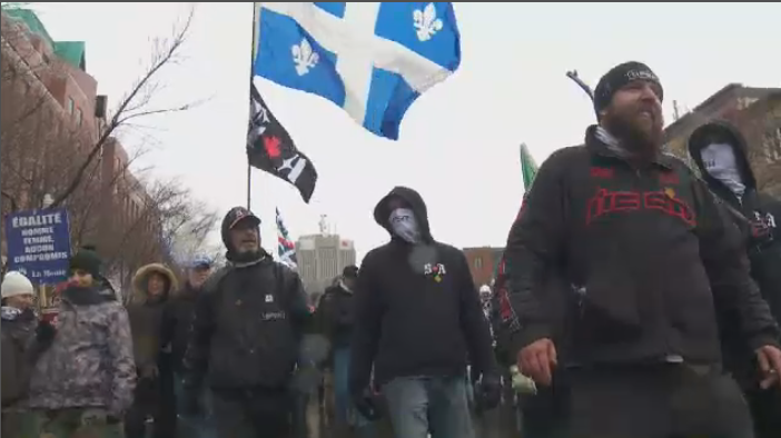 Hundreds of members of La Meute and Storm Alliance protested in Quebec City in a silent march on Saturday, Nov. 25, 2017.