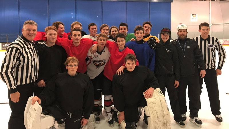 The Whistler Minor Hockey Association gifted Bieber a Whistler Winterhawks jersey after the pop star surprised the minor league team at their practice on Nov. 23, 2017. (Luc Binette / WMHA)