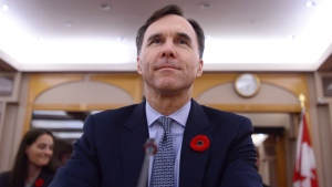 The Senate Committee on National Finance hears from Finance Minister Bill Morneau during a meeting on Parliament Hill in Ottawa on November 1, 2017. THE CANADIAN PRESS/Sean Kilpatrick