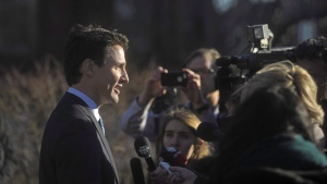 Prime Minister Justin Trudeau takes questions from the media outside the Confederation Centre of the Arts in Charlottetown, P.E.I., on Thursday, Nov. 23, 2017. THE CANADIAN PRESS/Nathan Rochford