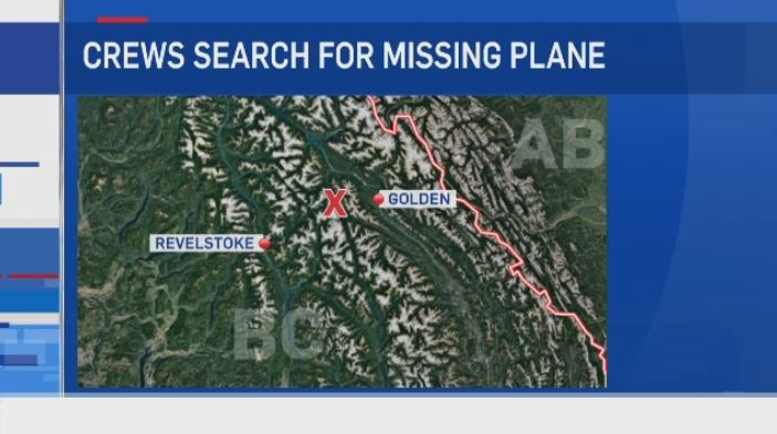 Crews are searching for a missing plane that was headed to Edmonton in the Revelstoke, B.C. area.